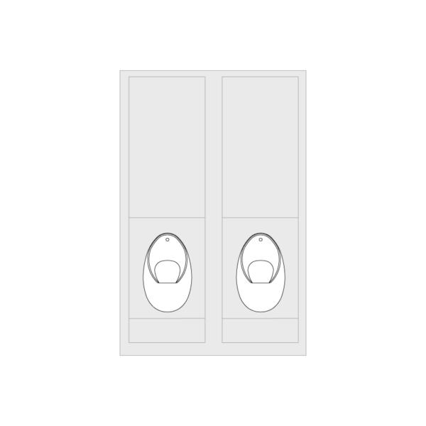 2x Concealed Trap Urinal Set