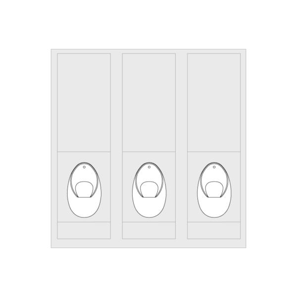 3x Concealed Trap Urinal Set