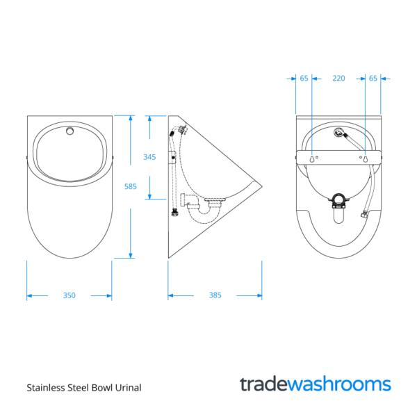 UR2100 - Stainless Steel Bowl Urinal