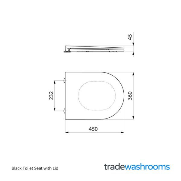 URVSEAT-B - Black Toilet Seat with Lid