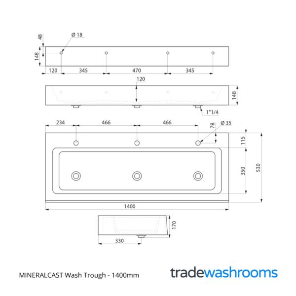 453140 - MINERALCAST Wash Trough
