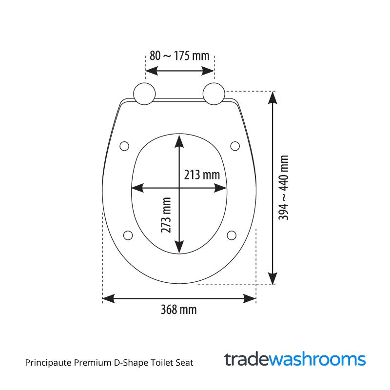 Principaute Premium D Shape Toilet Seat 368mm Siamp