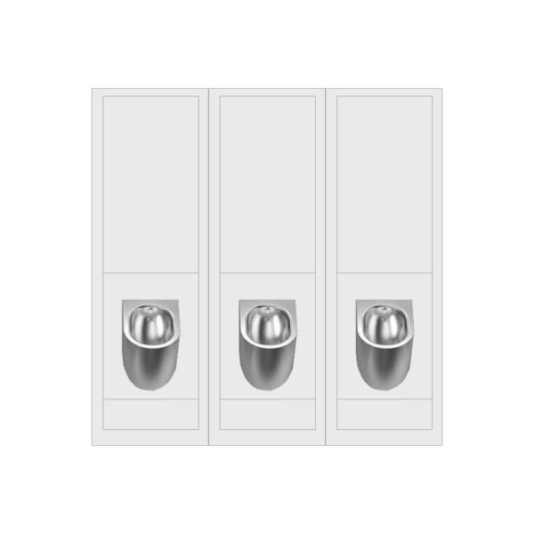 Stainless Steel Bowl Urinal Set of Three - UR2100P3