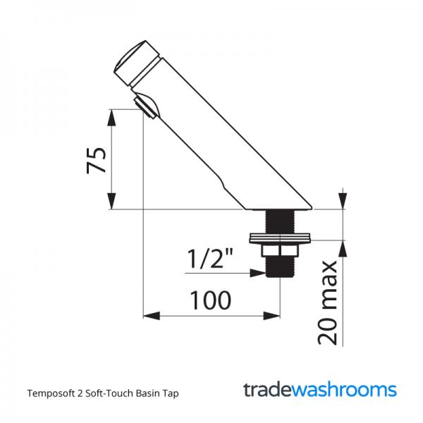 Temposoft 2 Basin Tap - Dimensions