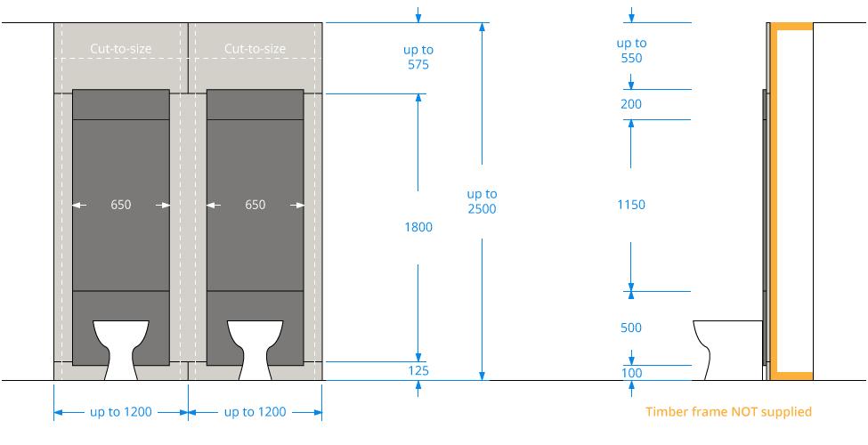 Toilet IPS Panel Dimensions